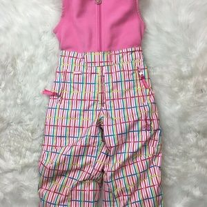 Spyder Girls Bright Pink Striped Overalls Pants